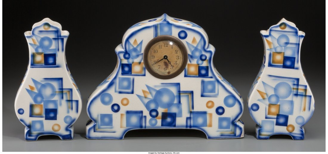 65772: A Three-Piece Spritzdekor Art Deco Ceramic Clock