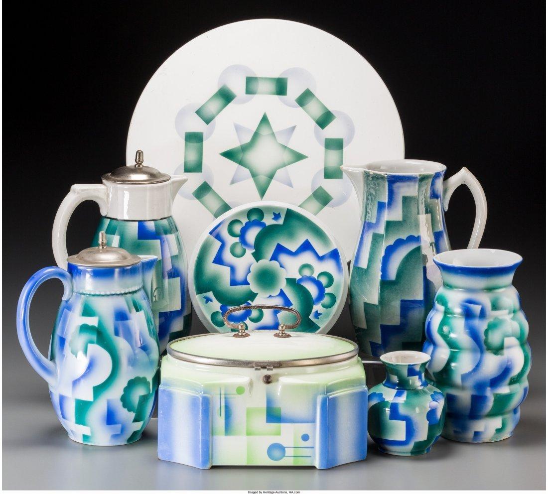 65776: Eight Spritzdekor Art Deco Ceramic Table Items,