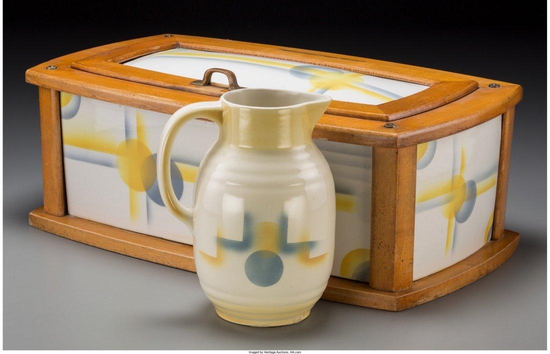 65781: A Spritzdekor Art Deco Ceramic Bread Box and Pit