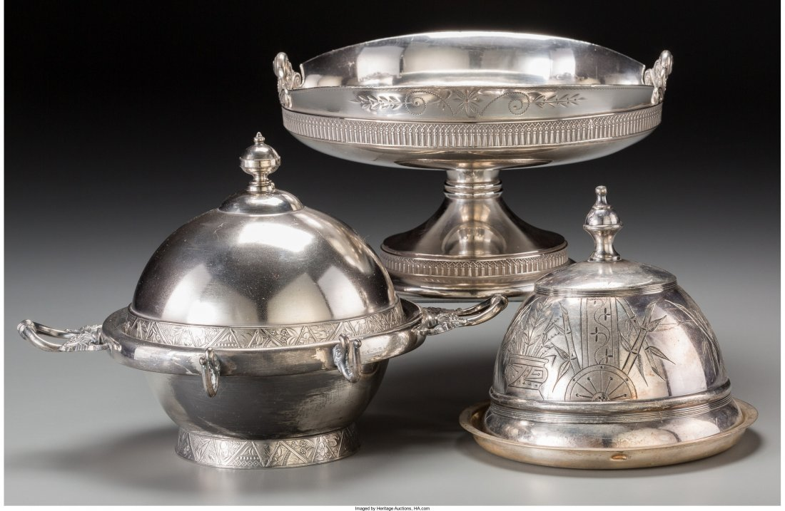 66000: Two Silver-Plated Butters and a Basket, 20th cen