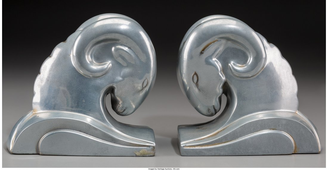 65682: A Pair of Art Deco-Style Silvered Metal Ram's He