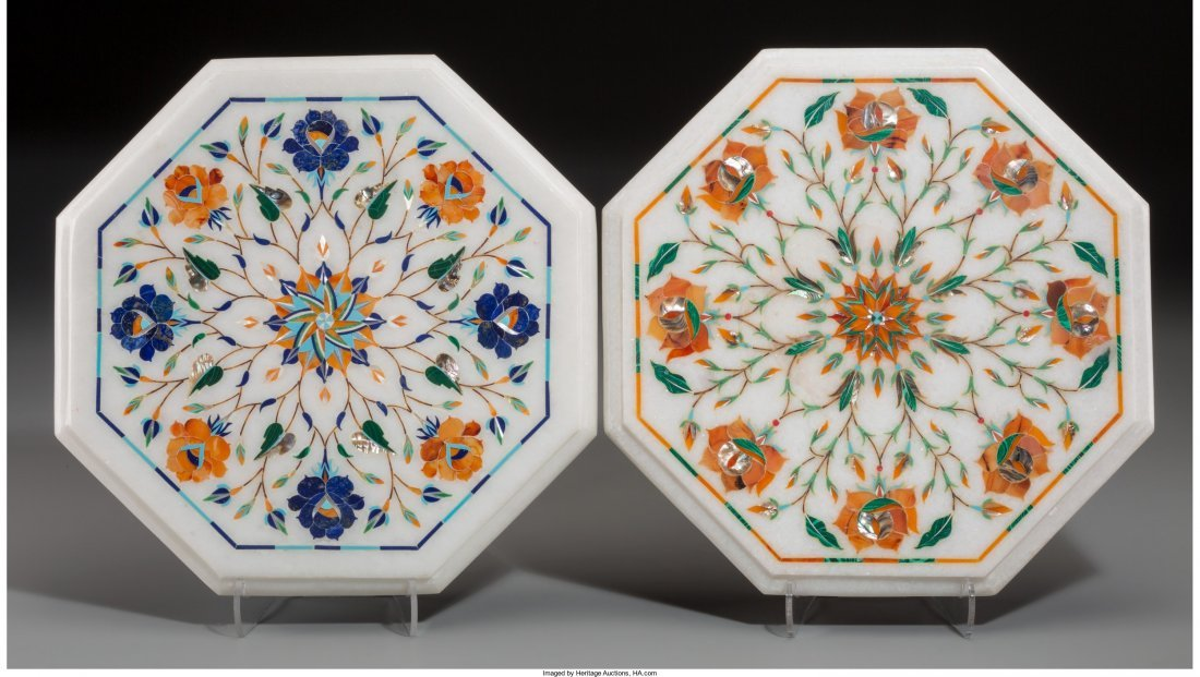 65797: A Pair of Marble, Abalone, and Pietra Dura Octag