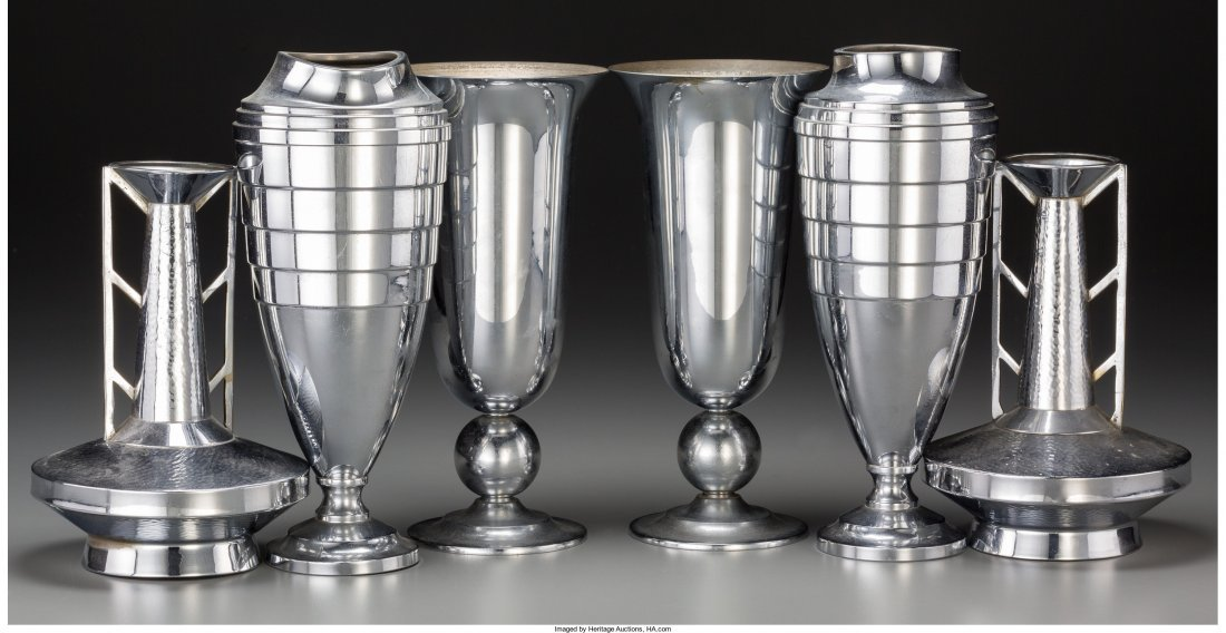 65798: Three Pairs of Art Deco Chromed Metal Vases, 20t