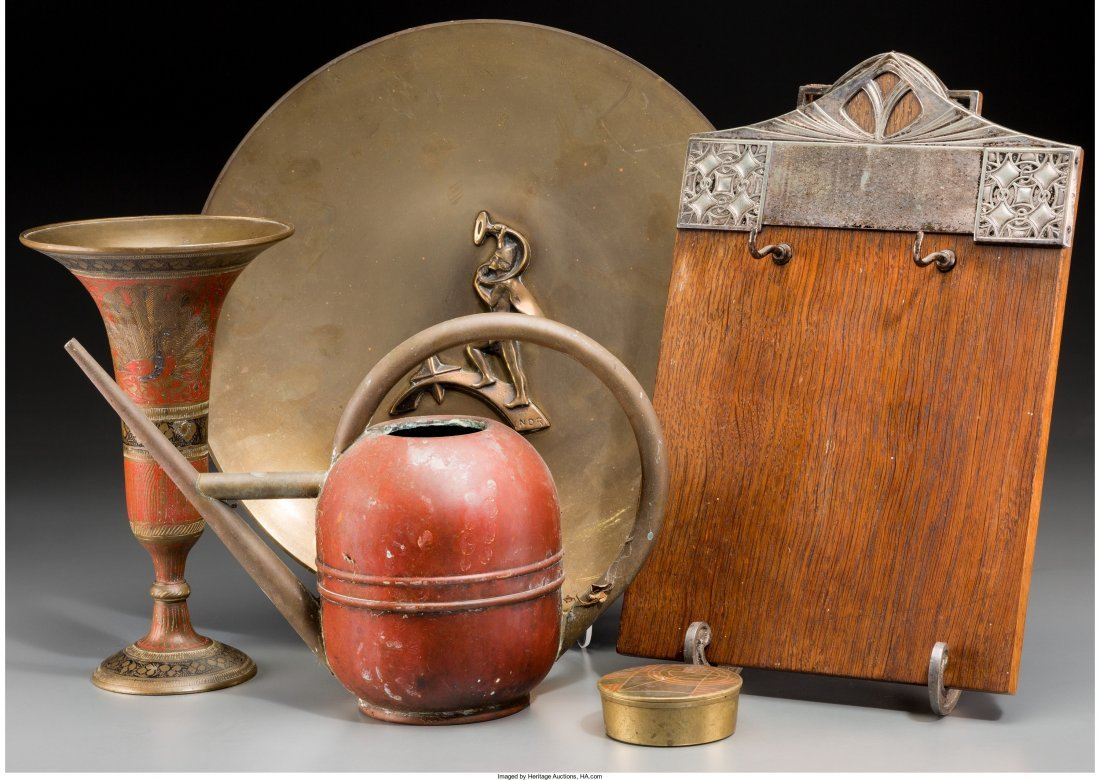 65802: Five Bronze and Mixed Metal Tablewares with WMF