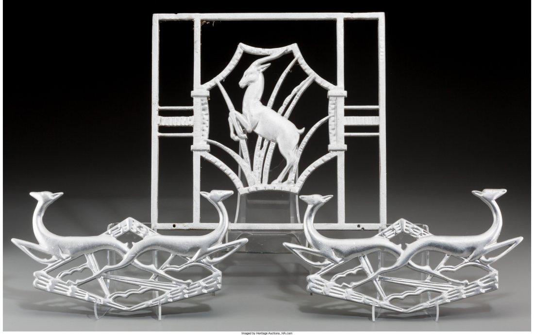65692: Three Art Deco Painted Iron Antelope Appliqués,