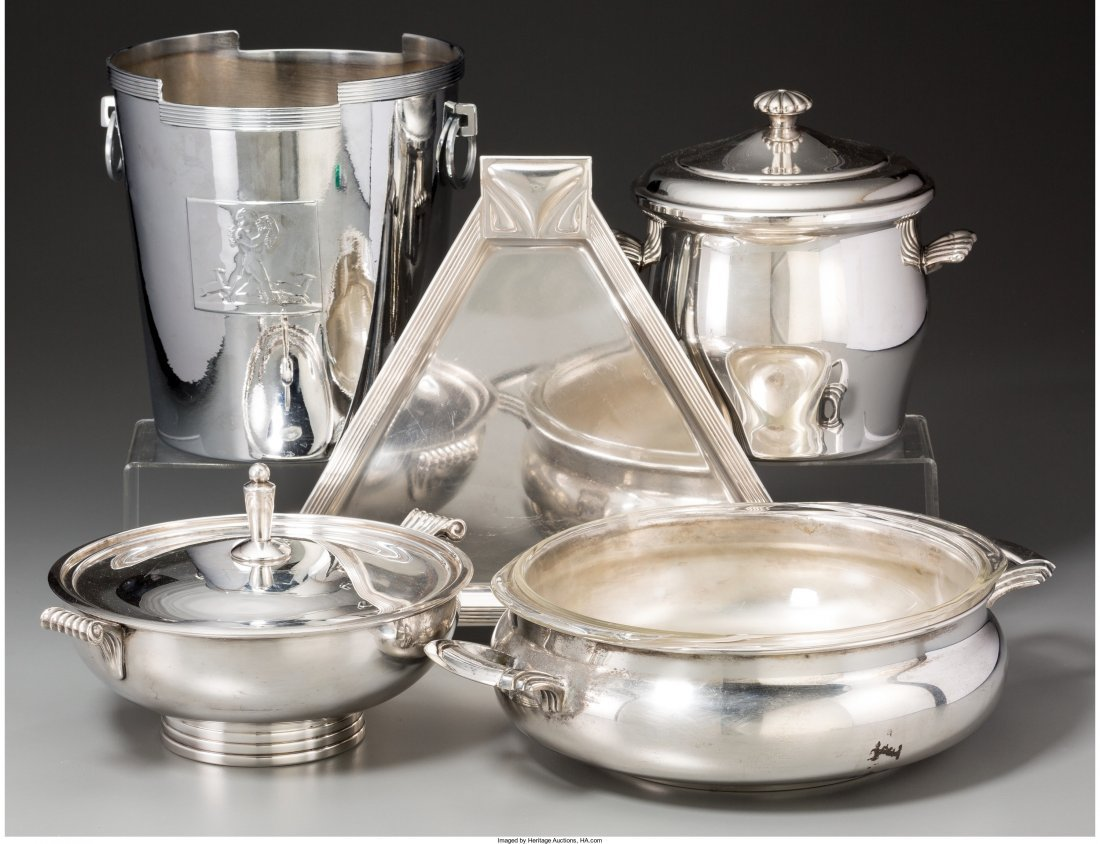 66012: Five Chromed and Silver-Plated Tablewares, 20th