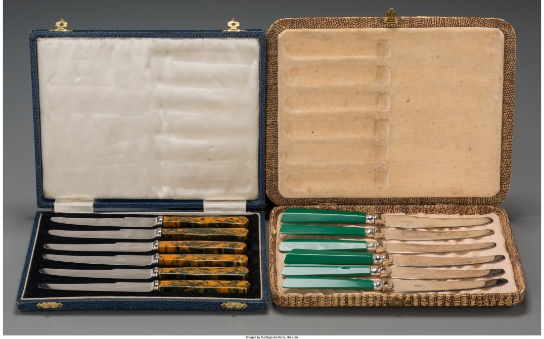 65808: Two Cased Sets of Fruit Knives, mid-20th century
