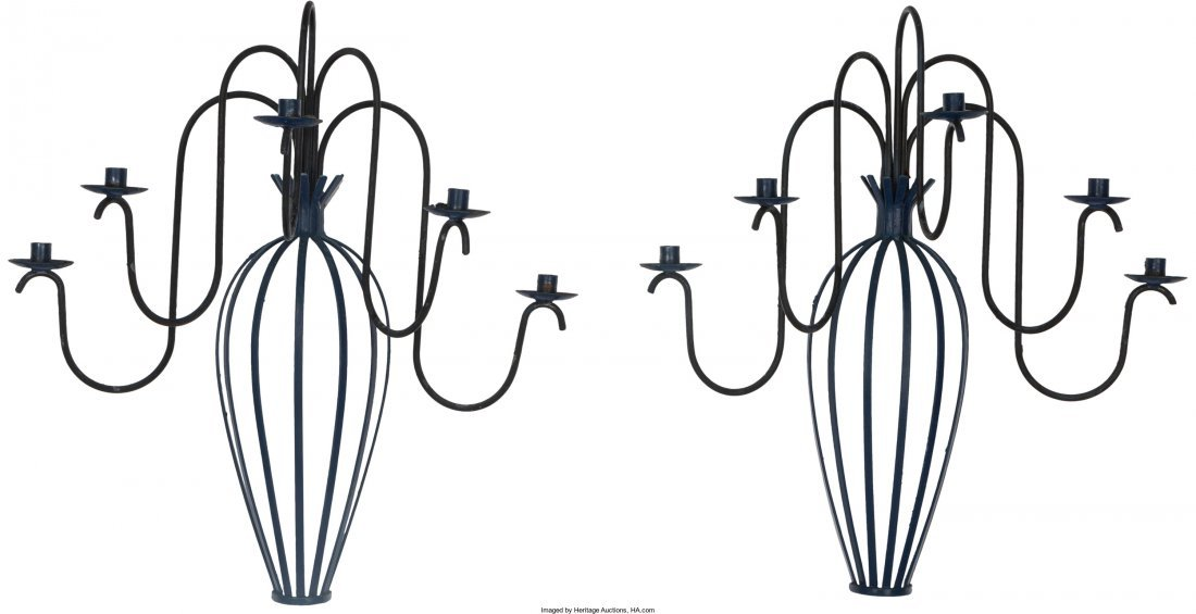 66081: A Pair of Blue Enameled Wrought Iron Five-Light