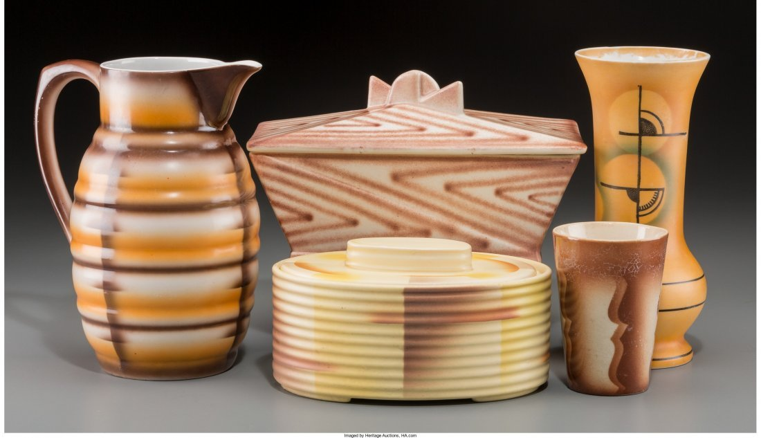65706: A Group of Five Spritzdekor Art Deco Ceramic and