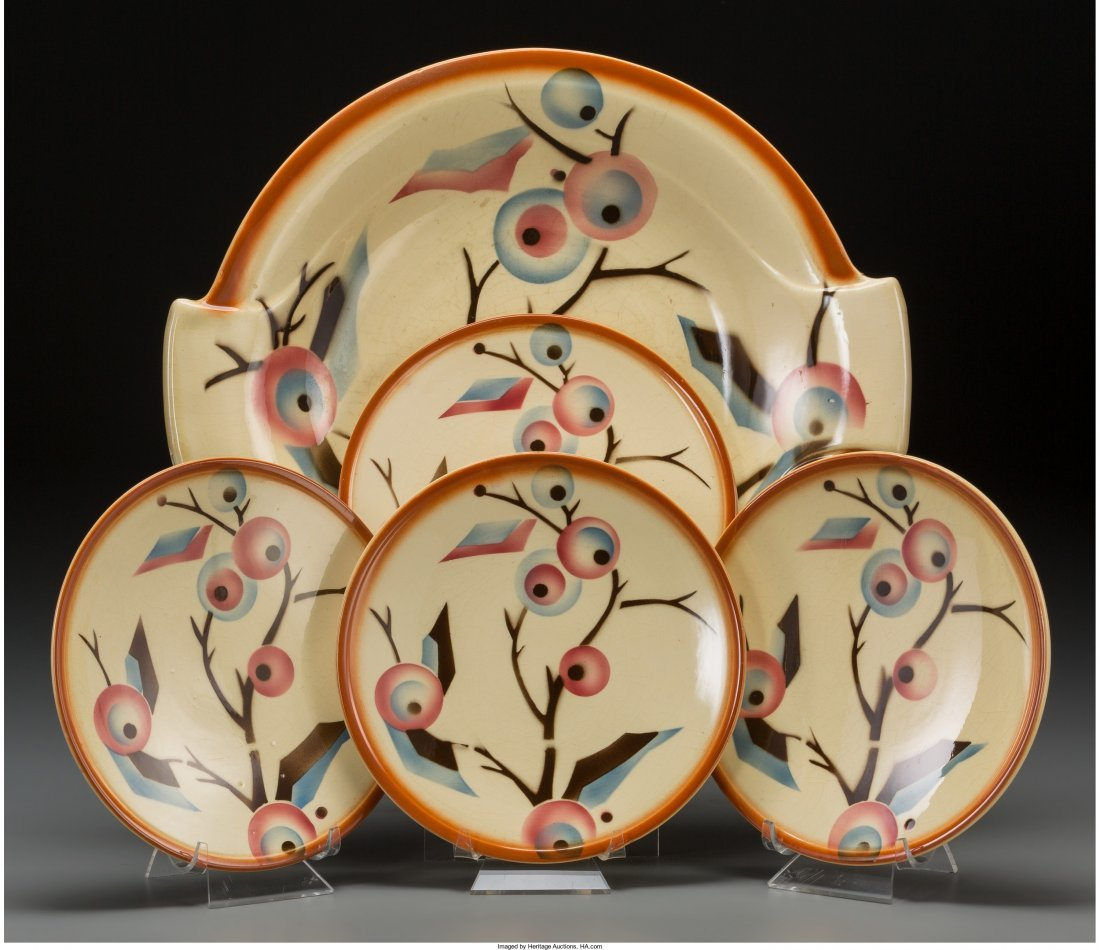 65882: A Five-Piece Spritzdekor Art Deco Ceramic Lunche