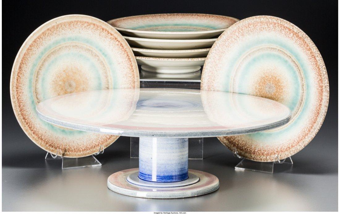 65886: A Set of Six Spritzdekor Art Deco Ceramic Lunche