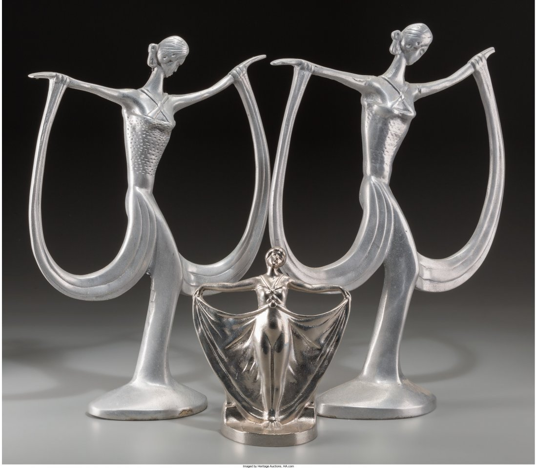 65887: A Pair of Art Deco Female Sculptures with Associ