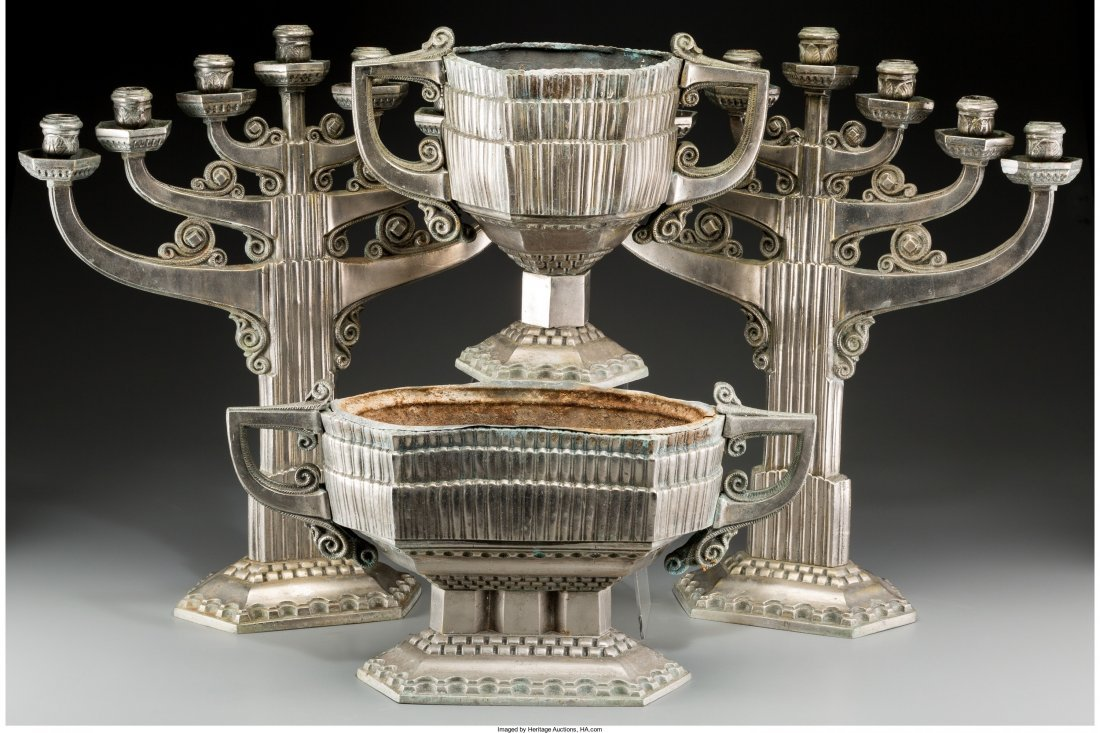 65894: A Four-Piece Art Deco Silvered Metal Table Garni