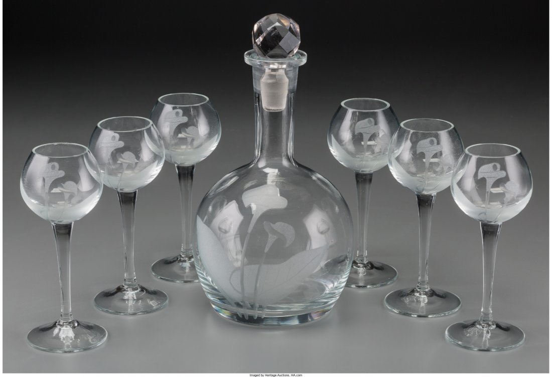 65716: A Seven-Piece Stenciled Clear Glass Cordial Set