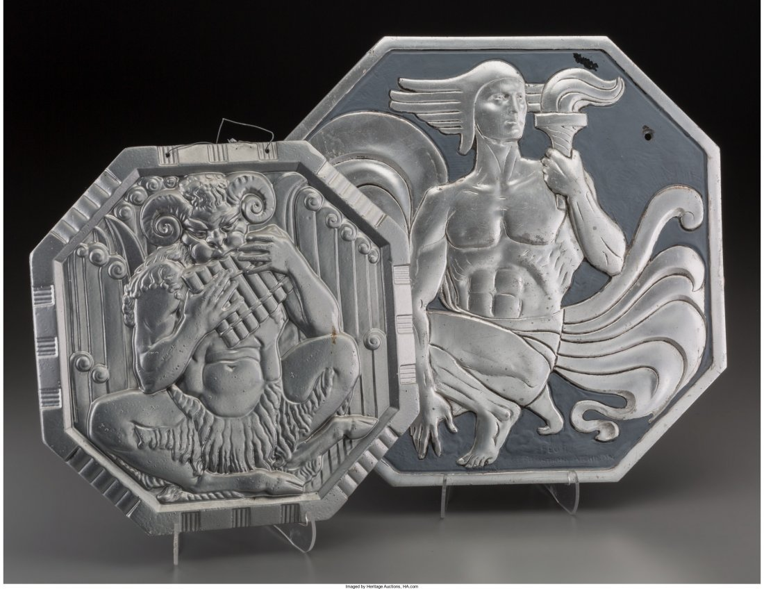 65898: Two Art Deco Octagonal Plaques with Classical Mo