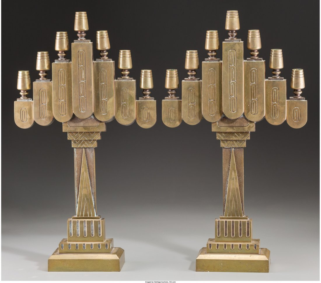 66053: A Pair of Art Deco Brass Seven-Light Candelabra,