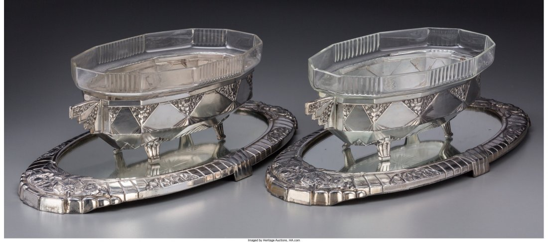 65956: A Pair of French Art Deco Silver-Plated JardiniÃ