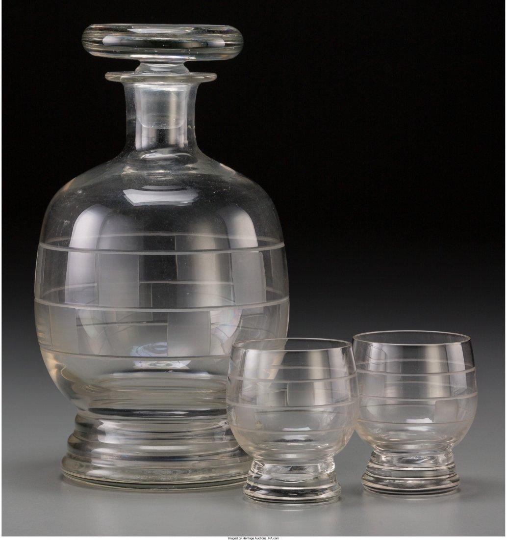 65975: A Thirteen-Piece Art Deco Intalgio Liquor Set, 2