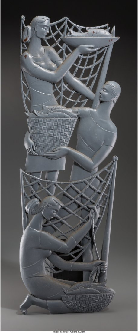 66087: A Large Art Deco Carved and Painted Wall Plaque: