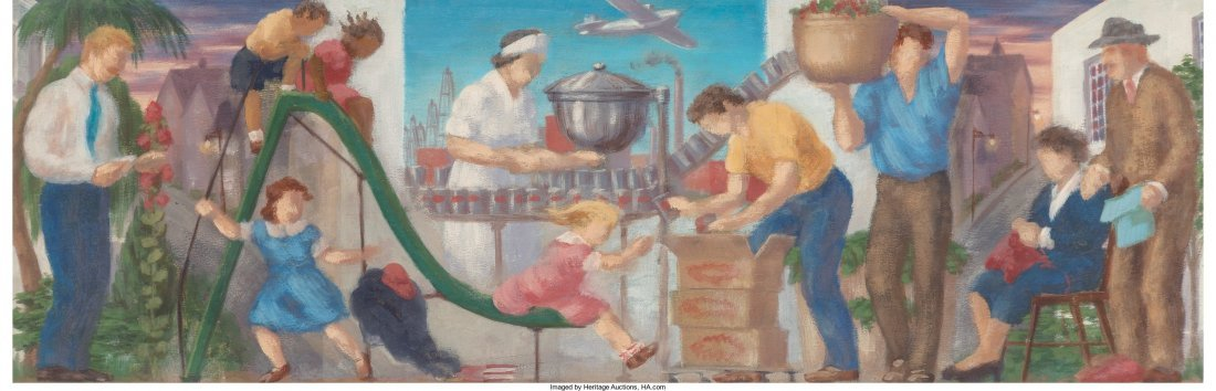 66092: Roy F. Luce (American, 1917-1977) Pair of Mural
