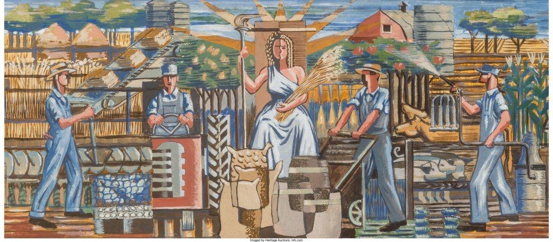 66092: Roy F. Luce (American, 1917-1977) Pair of Mural - 2