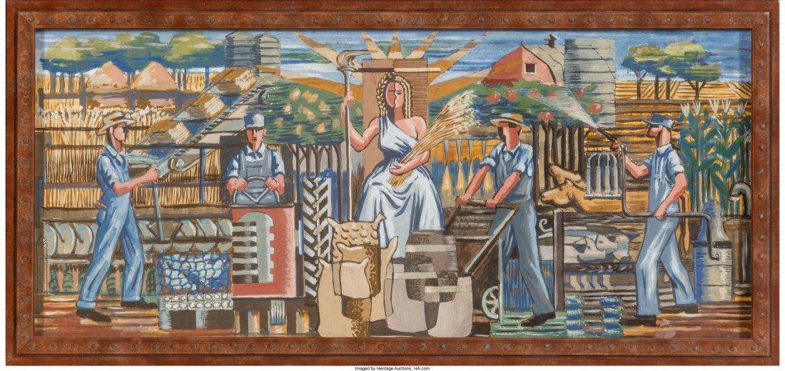 66092: Roy F. Luce (American, 1917-1977) Pair of Mural - 3