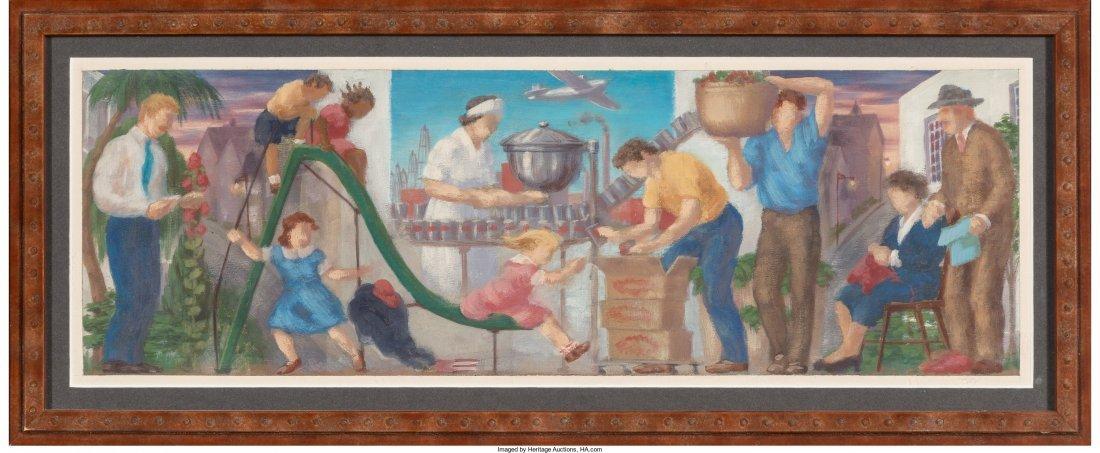 66092: Roy F. Luce (American, 1917-1977) Pair of Mural - 4