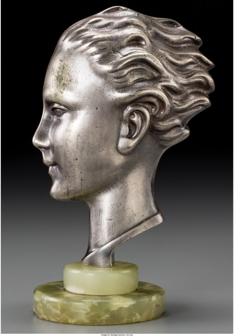66172: An Art Deco Patinated Metal Male Bust on Green O