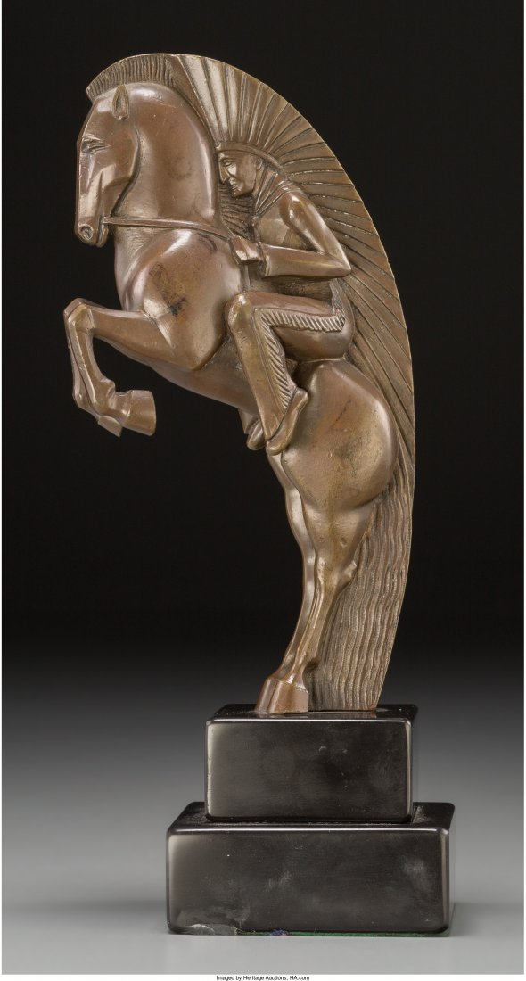 66176: An Art Deco Bronze Figural Group with Marble Bas