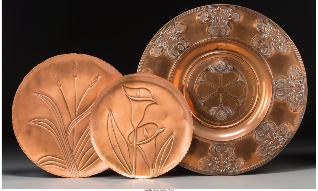 66276: An Art Nouveau and Two Modern Coppered Metal Pla