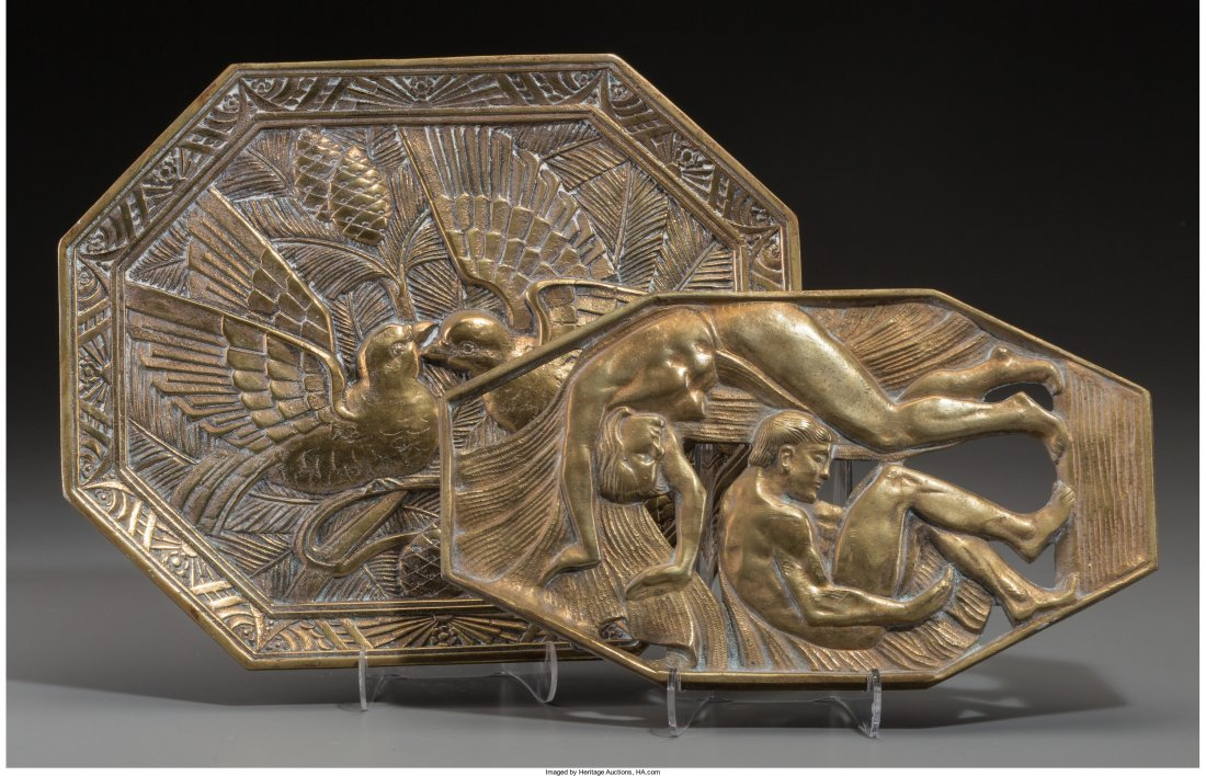 66278: Two Art Deco Gilt Brass Wall Plaques, first half
