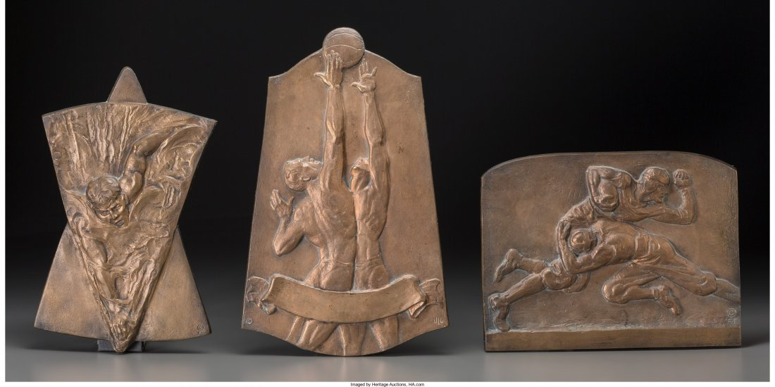 66196: Three Art Deco Bronze Sporting Plaques: Swimming