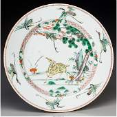 78096: A Chinese Famille Verte Porcelain Deer Charger,