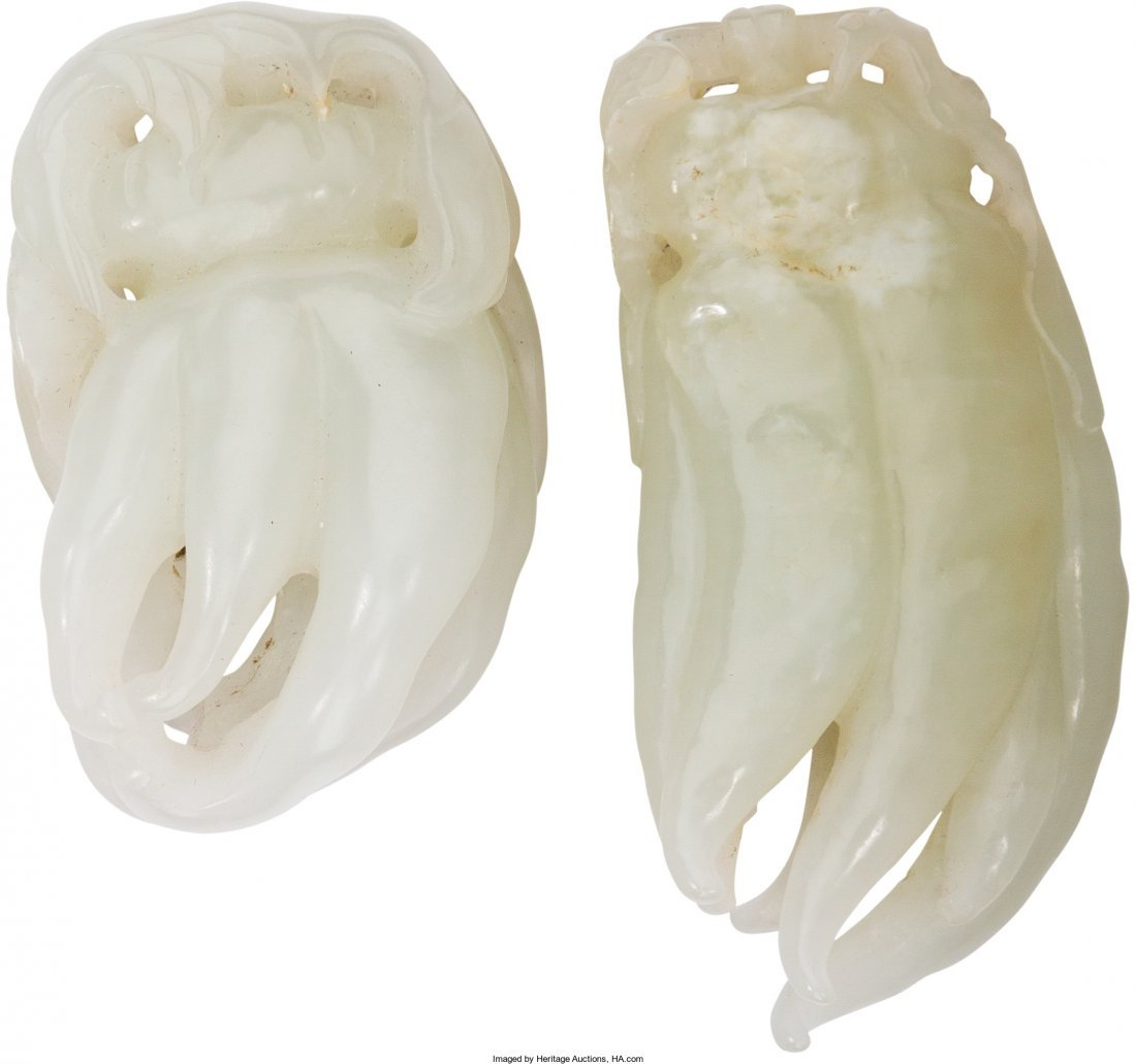 78017: Two Chinese Carved Pale Jade Buddha's Hands 2-1/