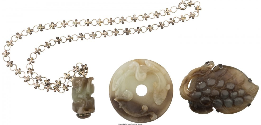 78019: Three Chinese Carved Jade Items: Grape Brooch, M