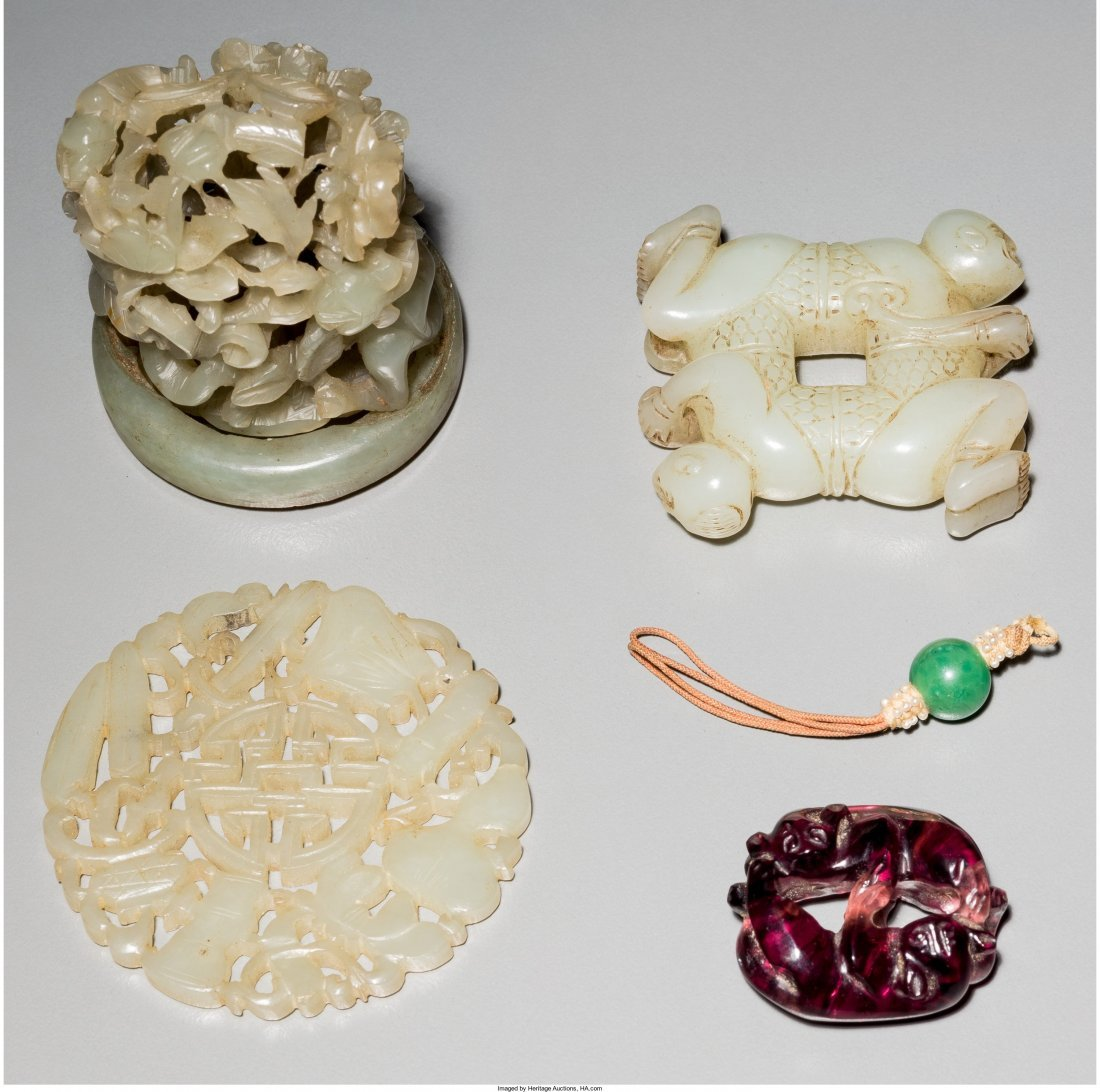 78020: A Group of Four Chinese Jade and Glass Carvings
