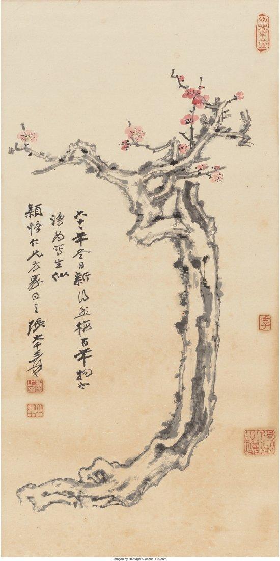 78246: Zhang Daqian (Chinese, 1899-1983) Plum Blossoms,