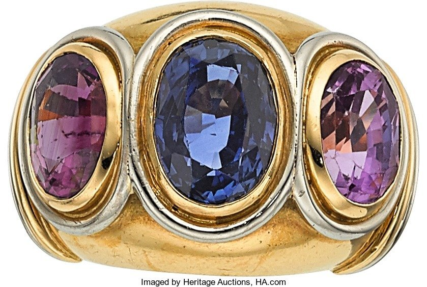 55007: Sapphire, Gold Ring, Boucheron, French  The ring