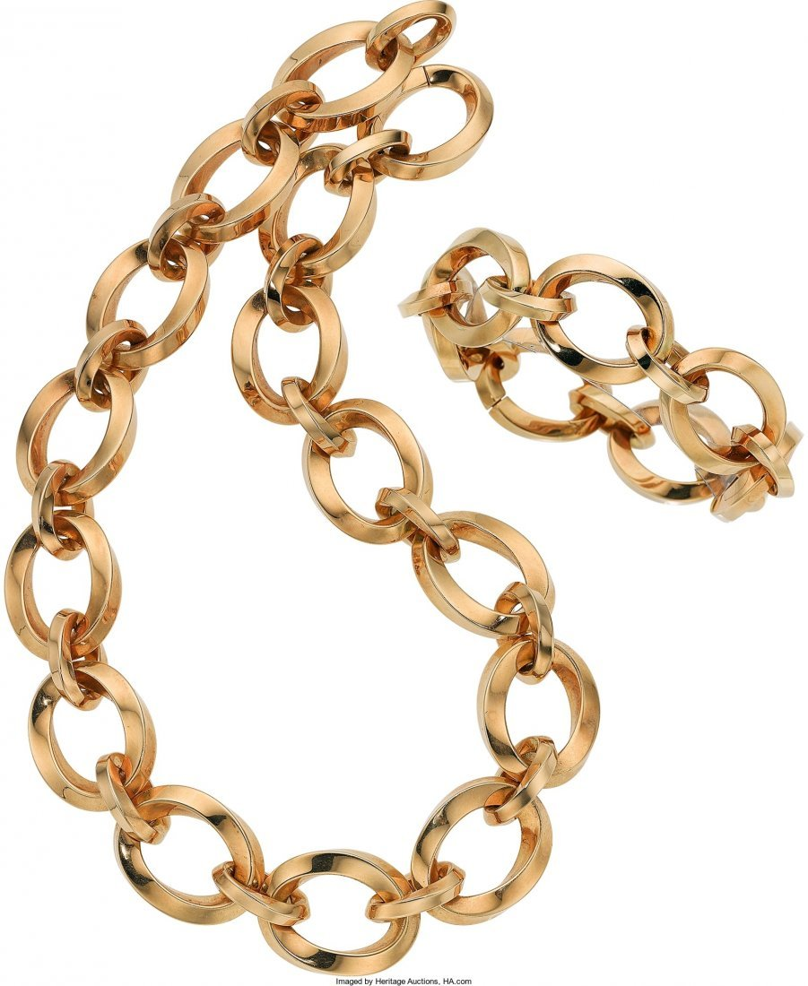 55008: Gold Jewelry Suite, Tiffany & Co.  The 18k gold