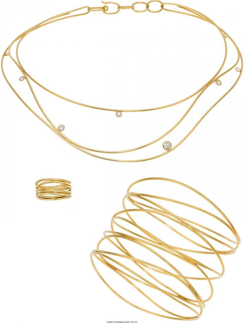 55010: Diamond, Gold Jewelry Suite, Elsa Peretti for Ti