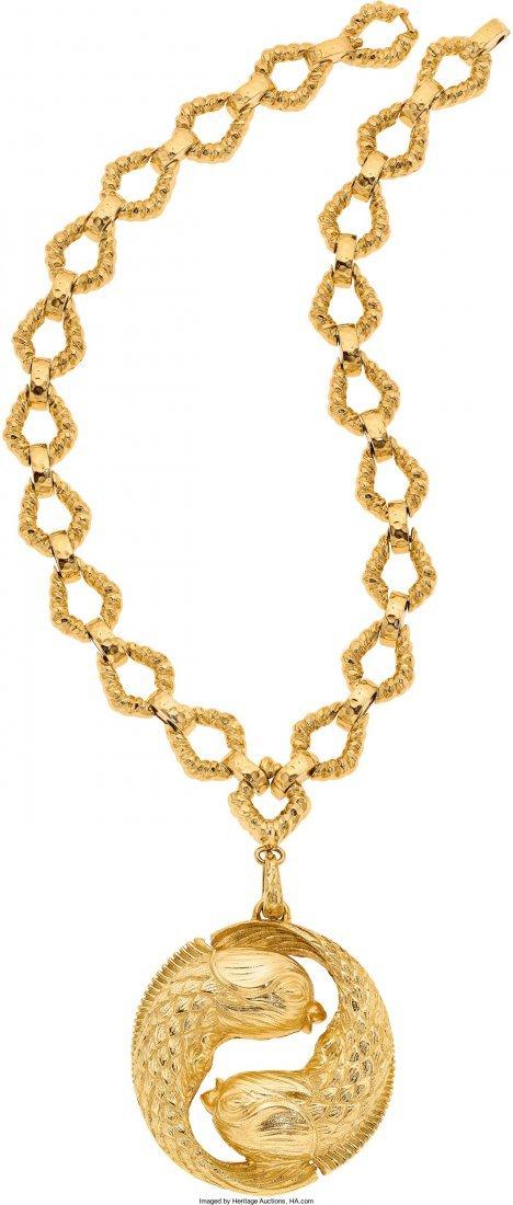 55011: Gold Pendant-Necklace, David Webb, circa 1970  T