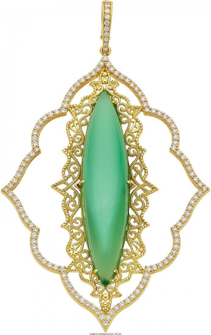 55012: Chrysoprase, Diamond, Gold Pendant, Cynthia Bach