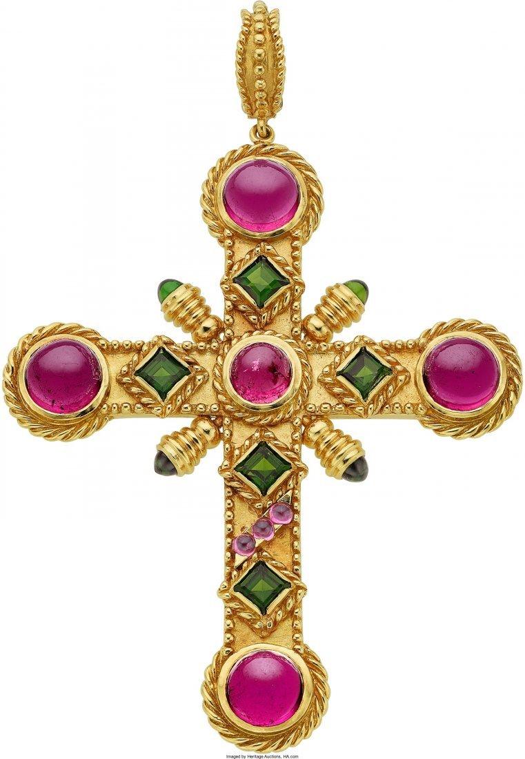 55013: Tourmaline, Gold Pendant, Cynthia Bach  The pend