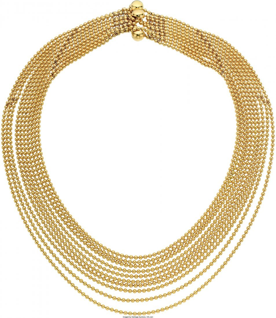 55018: Gold Necklace, Cartier  The 18k gold ten strand