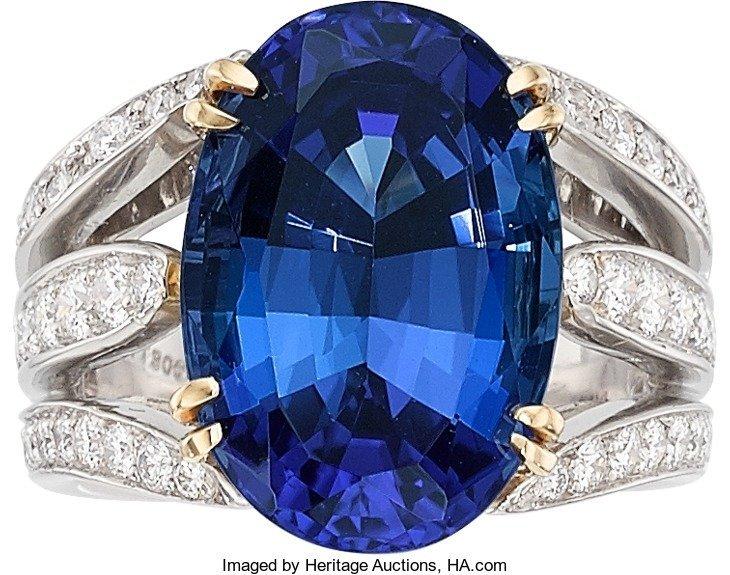 55019: Tanzanite, Diamond, Platinum, Gold Ring  The rin