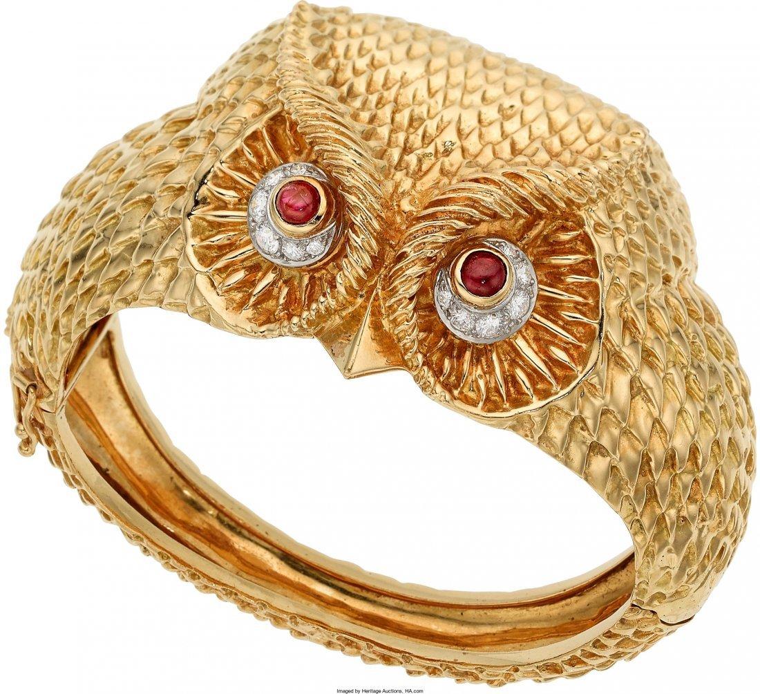 55020: Ruby, Diamond, Gold Bracelet  The hinged bangle