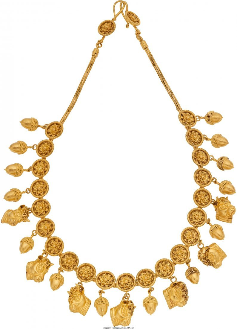 55023: Gold Necklace, Lalaounis  The 22k gold necklace