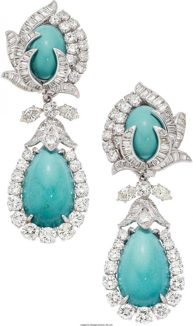 55114: Turquoise, Diamond, Platinum Earrings, David Web