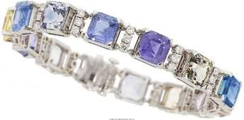 55184 Art Deco Sapphire Zircon Diamond Platinum Bra