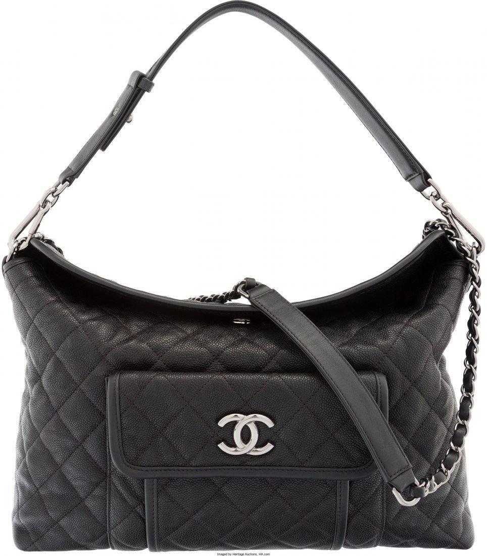 58001: Chanel Black Quilted Caviar Leather Shoulder Bag